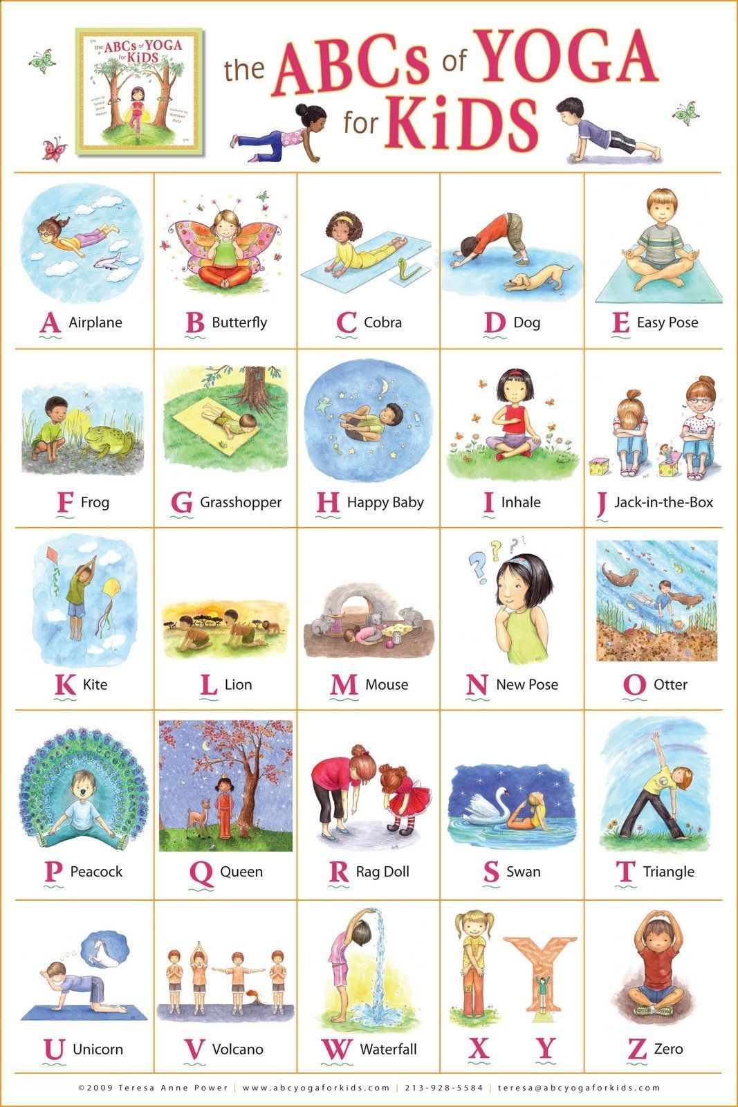 Yoga-Get Your Sexiest Body Ever Without Kathleen Rietz - Illustration and Design: The ABCs of Yoga for Kids poster. Pinterest @nostalgicnora Get your sexiest body ever without,crunches,cardio,or ever setting foot in a gym