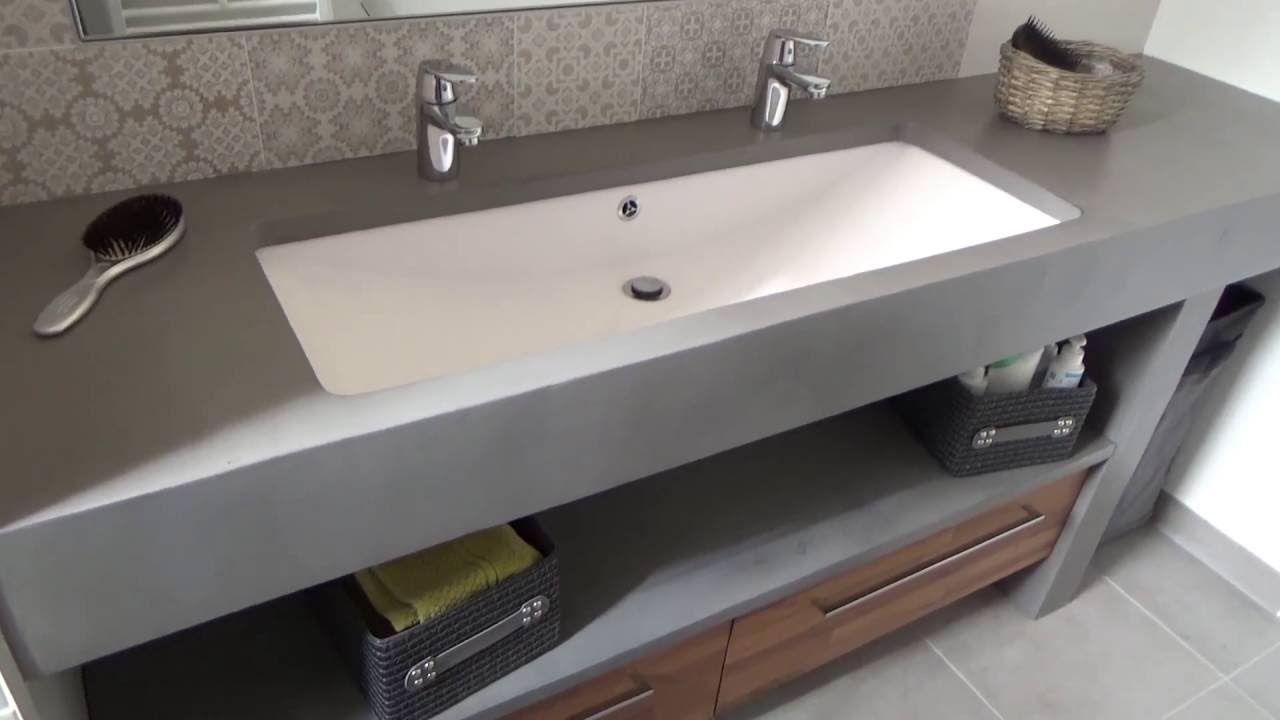 Meuble En Béton Ciré meuble salle de bain béton ciré sur mesure - atlantic bain