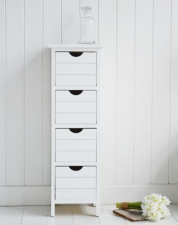 Dorset 25cm White Narrow Storage Furniture. White Narrow Bedside Table With  Four Drawers From The