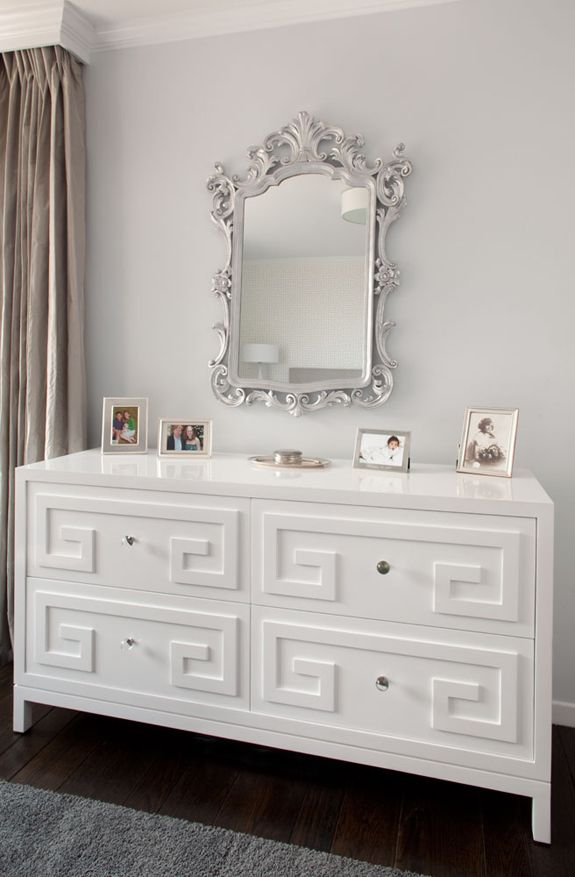 Greek Key Dresser In Shiny White With The Silver Mirror