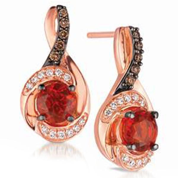 Le Vian 14k Strawberry Gold Neon Tangerine Fire Opal Earrings Featuring Round