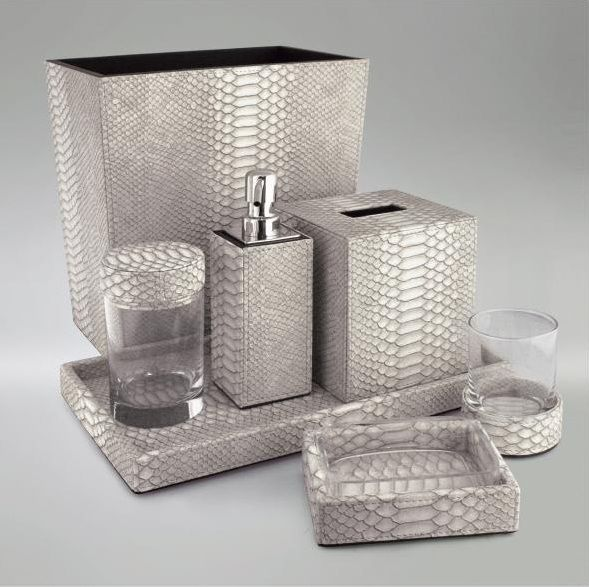 Gray Faux Python Bathroom Set Bathroom Accessories Luxury