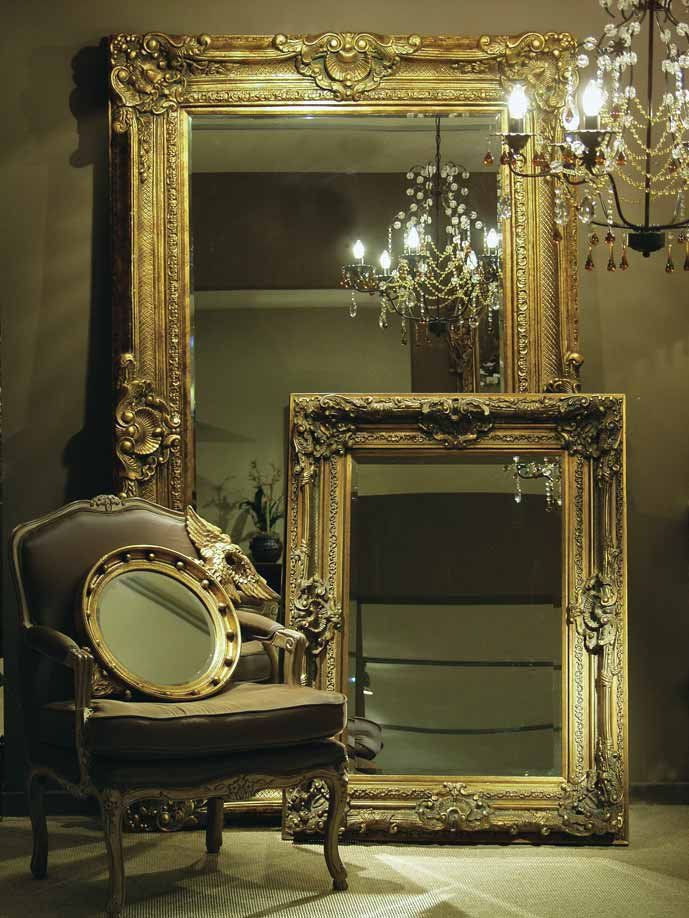 Love these large antique mirrors my mother has one in a for Gold frame floor mirror