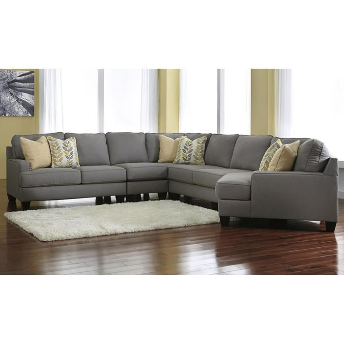 Chamberly 5 Piece Sectional with RAF Cuddler in Alloy