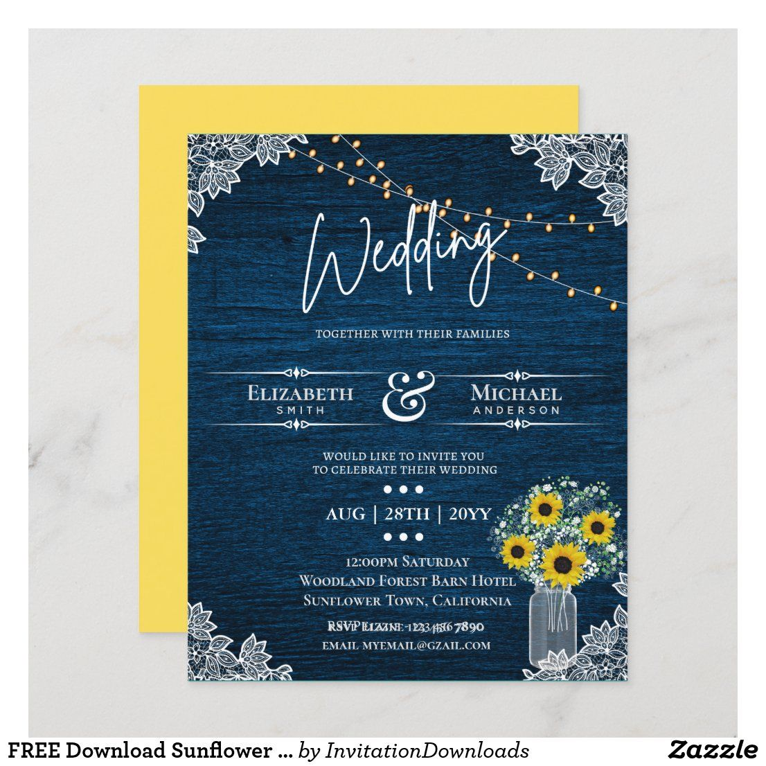 Budget Wedding Invites Floral Customized By Leahg Zazzle Com In 2021 Budget Wedding Invitations Sunflower Wedding Invitations Wedding Invitations