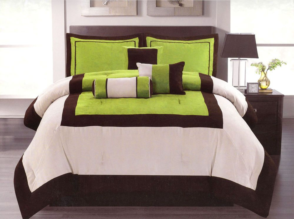 Details About 7 Pc Modern Micro Suede 3-Tone Bed Comforter