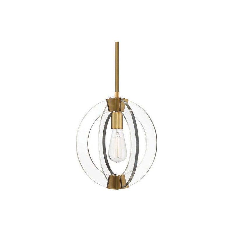 Photo of Savoy House 7-9160-1 Epsilon Single Light 12″ Wide Pendant Warm Brass Indoor Lighting Pendants