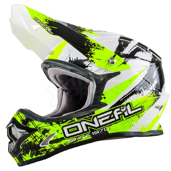 2016 Oneal 3 Series Motocross Helmet Shocker Black Neon Yellow Motocross Helmets Black Neon Helmet