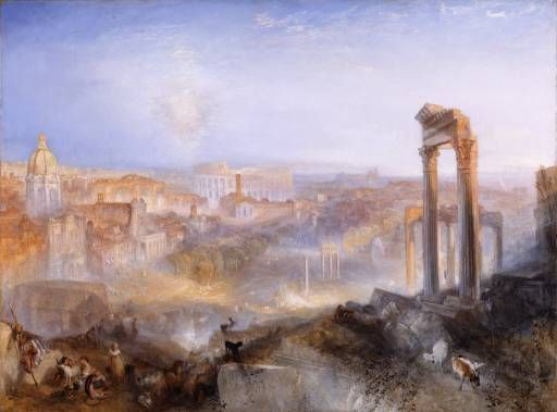 Joseph Mallord William Turner 'Modern Rome - Campo Vaccino', exhibited 1839 © National Galleries of Scotland, courtesy of Private Collection. The EY Exhibition: Late Turner #EYTate #EYArts. 10 September 2014 - 25 January 2015, Tate Britain