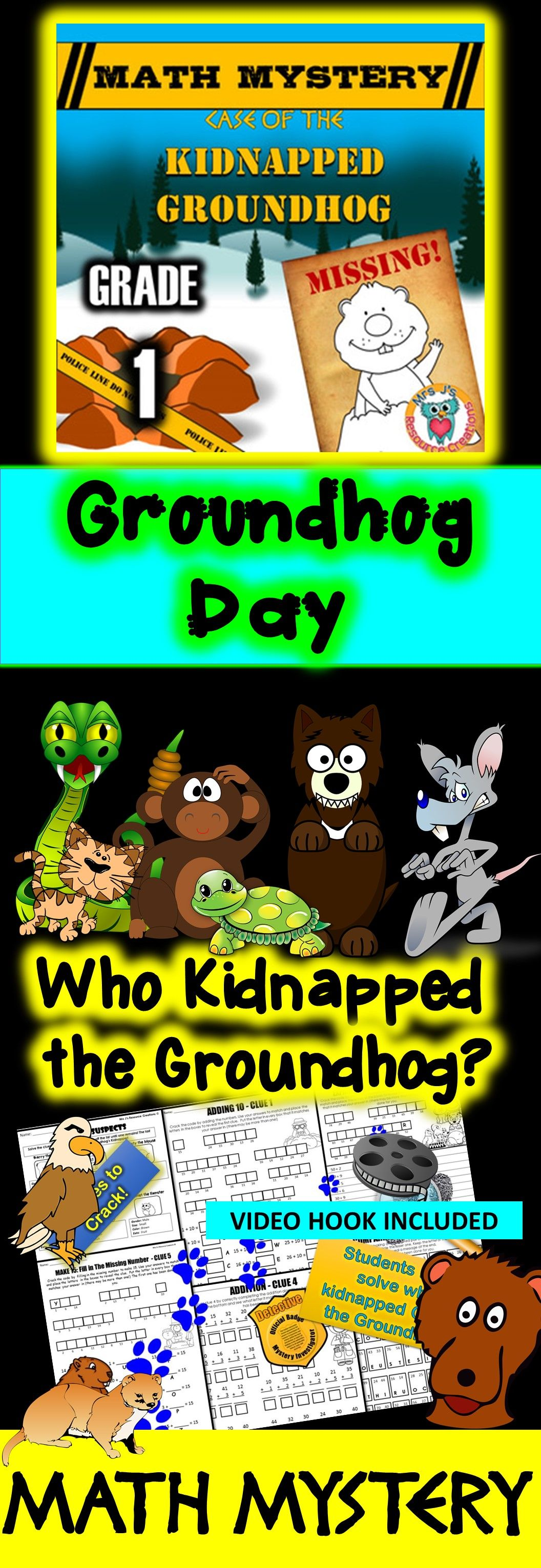 Groundhog Day Math Mystery Activity Grade 1 Version Math Mystery Groundhog Day Activities Groundhog Day [ 3062 x 1056 Pixel ]