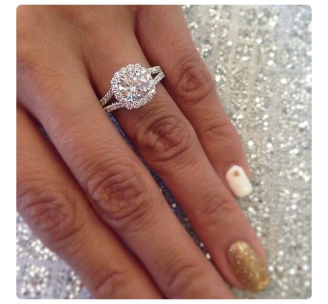 Round Halo Split Shank Engagement Rin Engagement Rings