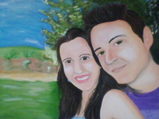 Minha primeira tela pintando rosto de pessoas. Nessa obra tentei retratar meu rosto e de minha namorada!