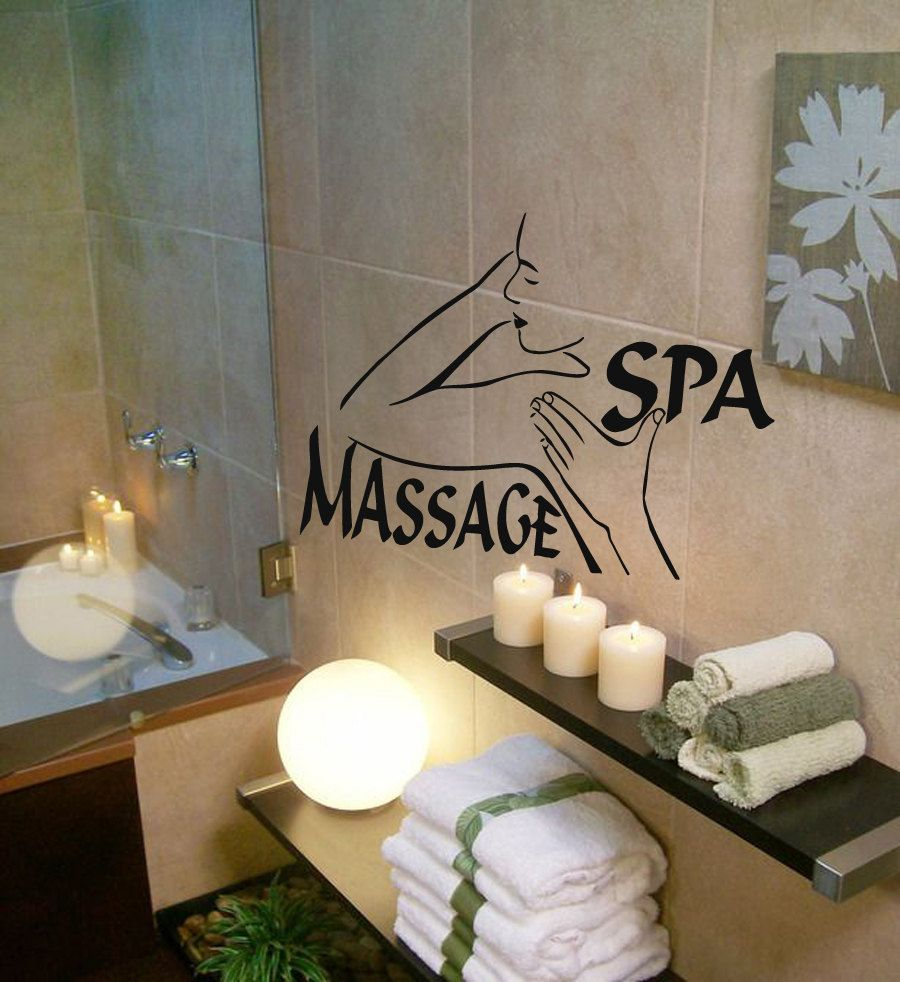 Nude Woman Wall Decals Girl Spa Massage Relax Beauty Salon