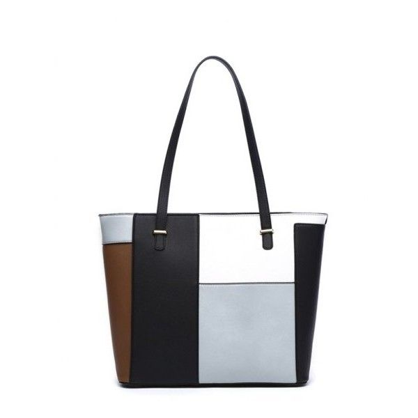 Pu Leather Color Blocking Shoulder Bag 20 Liked On Polyvore Featuring Bags White Purseswhite