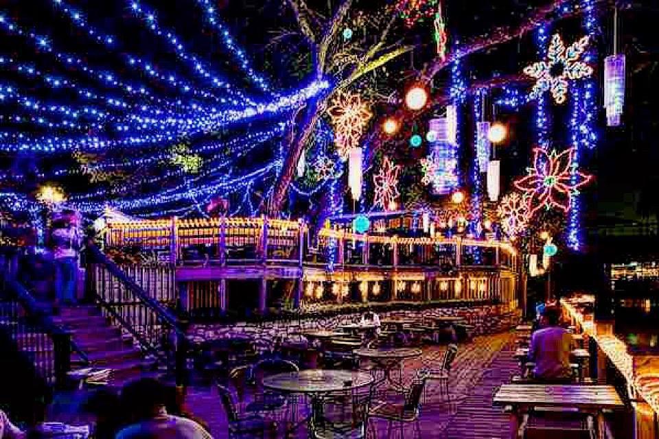 Christmas light show mozarts coffee roasters austin on