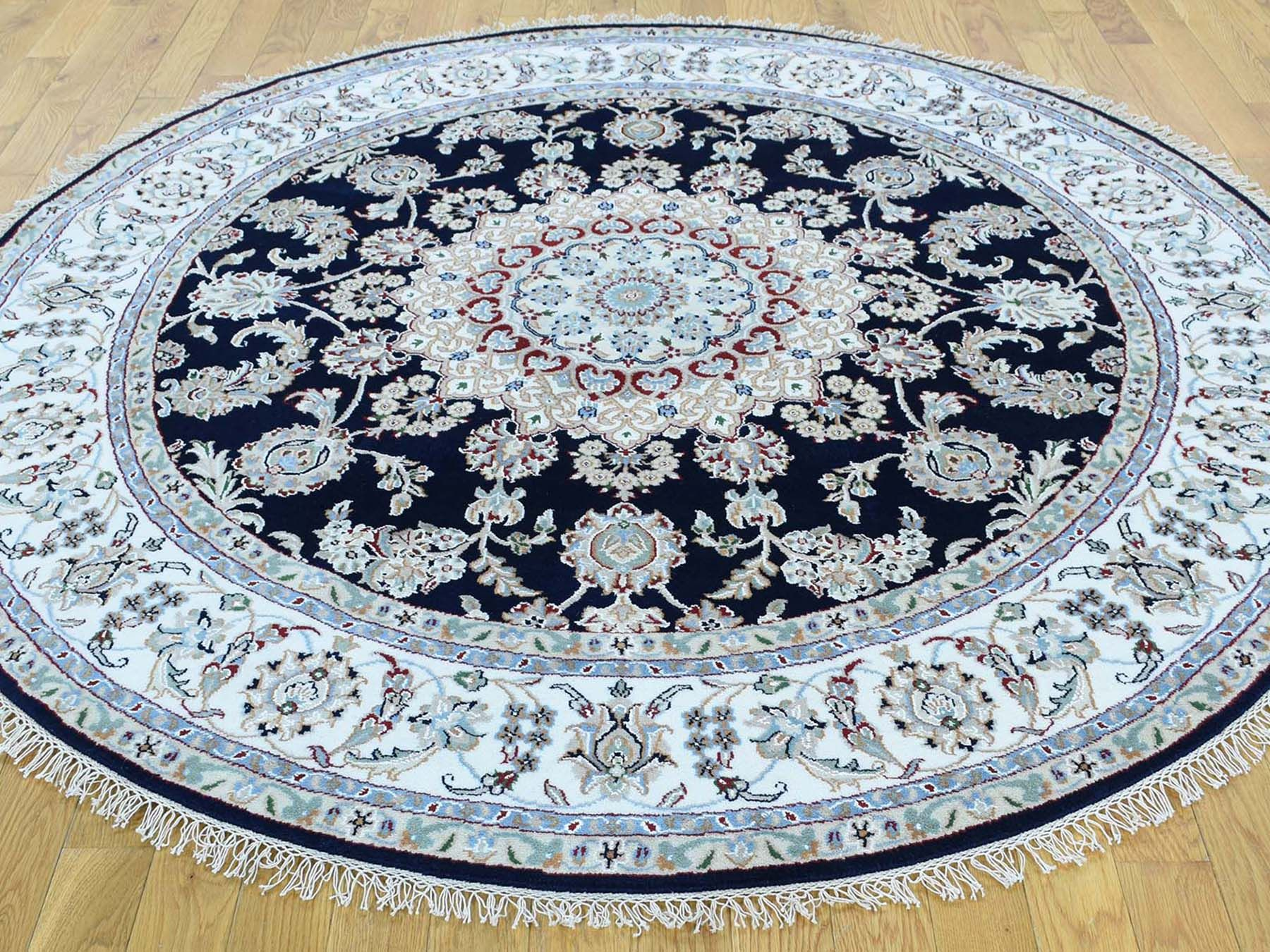 4 X4 Hand Knotted Wool And Silk 300 Kpsi Nain Round Oriental Rug