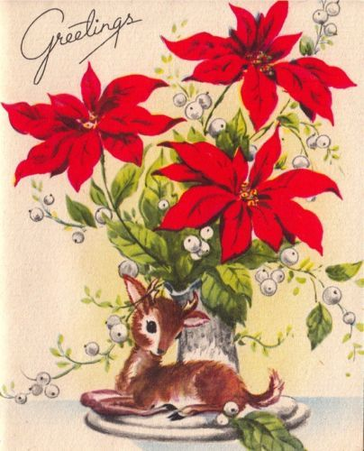 Vintage Greeting Card Christmas Deer Snow Poinsettia Whitman O819