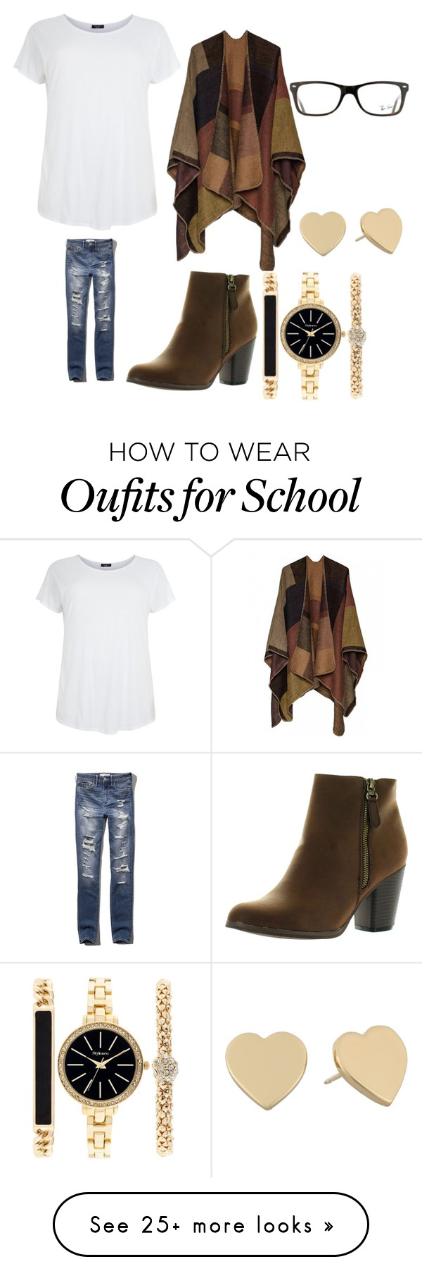 """""""Winter casual for school"""" by madi-eifler on Polyvore featuring Abercrombie & Fitch, Reneeze, Style & Co., Kate Spade and Ray-Ban"""