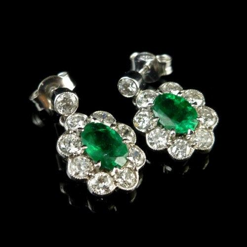 Emerald And Old Cut Diamond Earrings 18ct White Gold 2ct