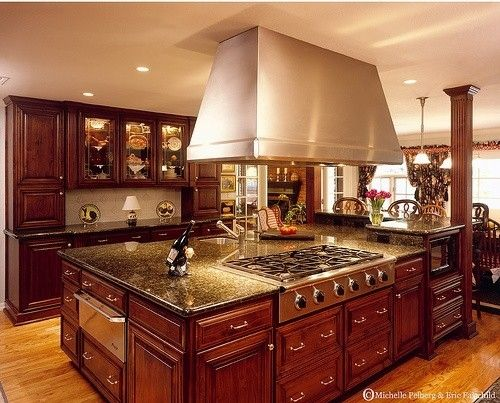 Dark cherry cabinets stainless steel appliances hardwood for Cherry kitchen cabinets with white appliances