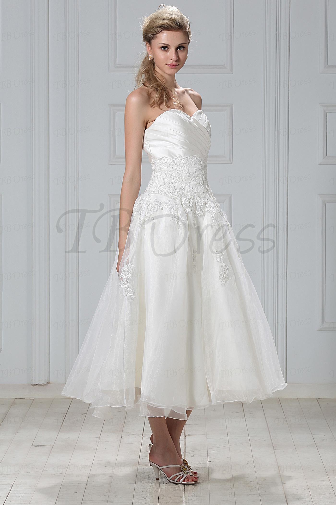 Sweetheart aline tealength appliques talineus wedding dress tea