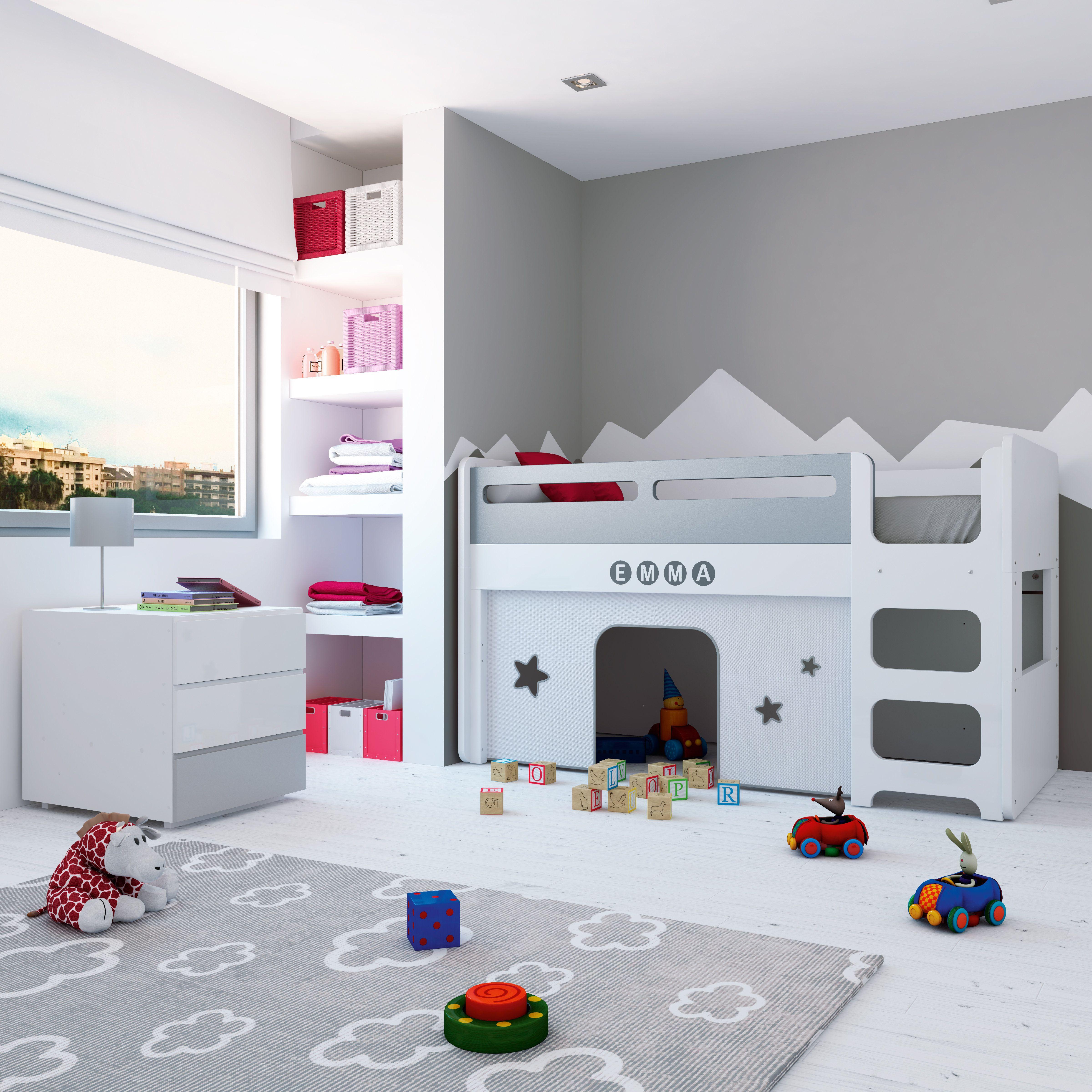 Habitaciones infantiles con encanto en color blanco y gris para ...