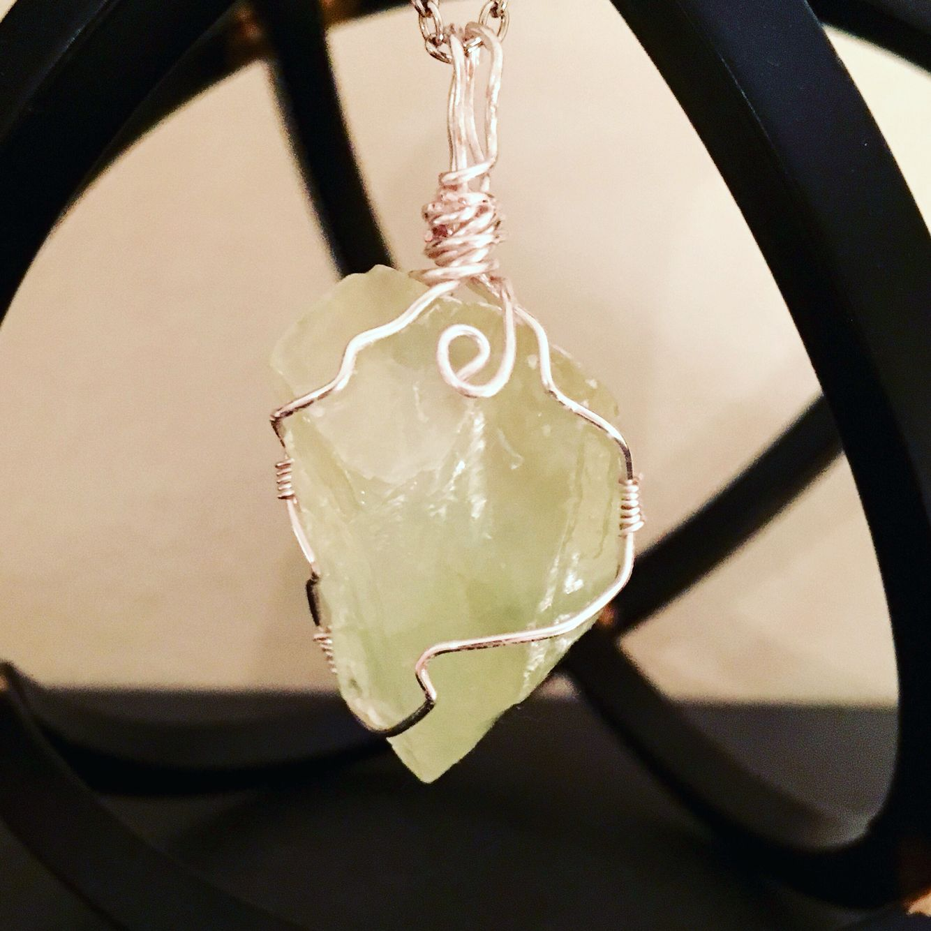 Green Calcite wire wrapped jewelry pendant