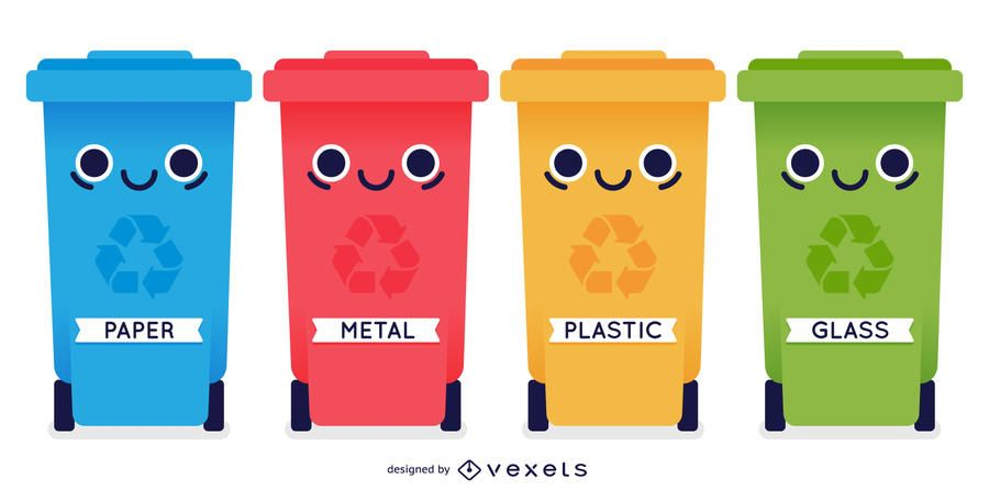 Comic Looking 4 Recycle Bin Containers In Different Color With Facial Artwork On The Body And Different Materia Recycling Bins Recycle Bin Containers Recycling