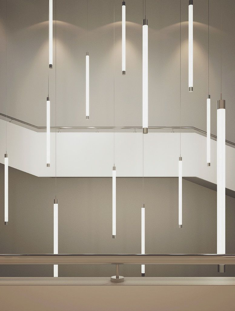 Suspended light fixture led linear tube down buck d o for Suspente luminaire
