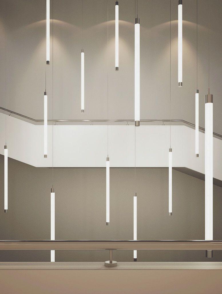 Suspended light fixture led linear tube down buck d o for Suspente luminaire