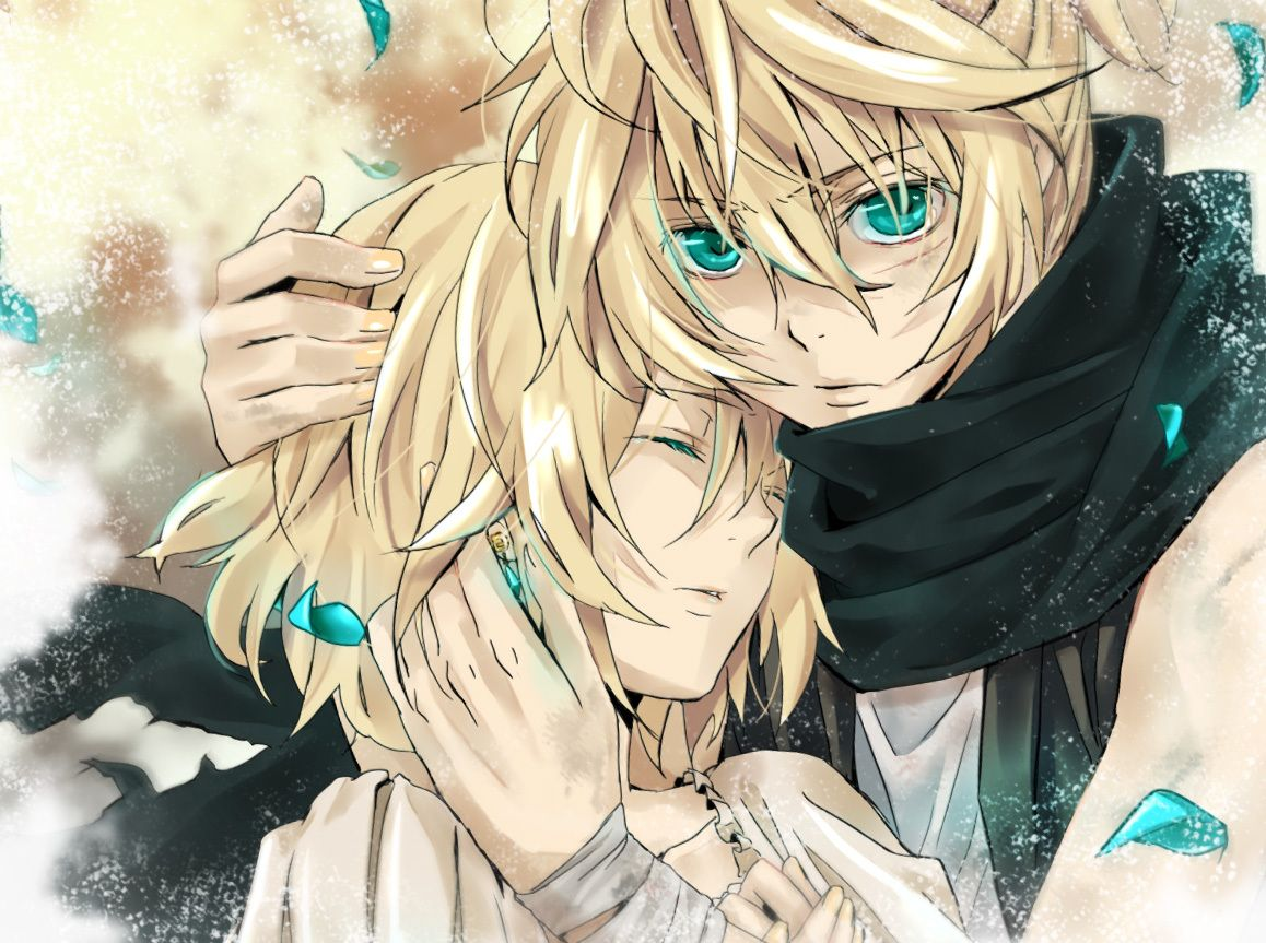 Hot anime boys len rin anime blonde hair blue eyes boy brothers cute girl