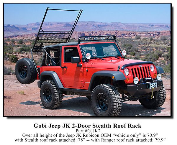 Gobi Jeep Wrangler JK 2 Door Stealth Recon Roof Rack U0026 Free Ladder   GJJK2