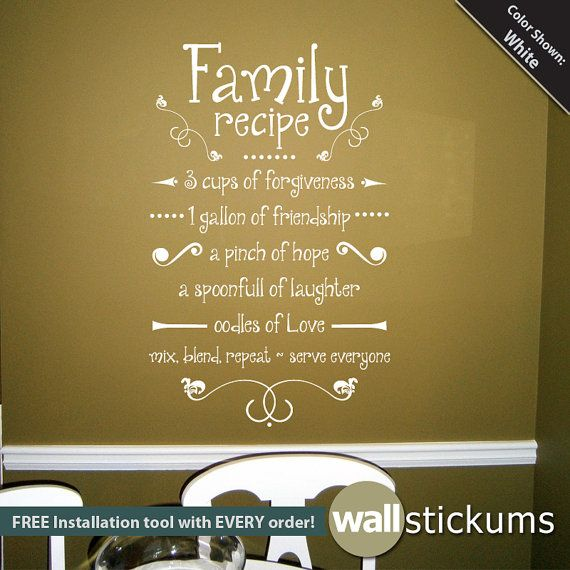 Family Recipe Wall Decal Vinyl Wall Art Decal Quote Kitchen Decor ...