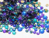 1500 Mixed Sizes Colors NEW Flatback Resins Rhinestones Mixes 3mm 4mm 5mm Blue AB Jelly Teal Violet Purple Sapphire Some 6mm  Sku1