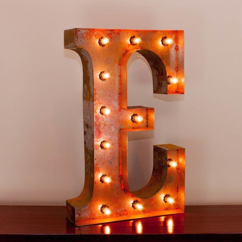 24 Letter E Lighted Vintage Marquee Letters With Screw On Sockets