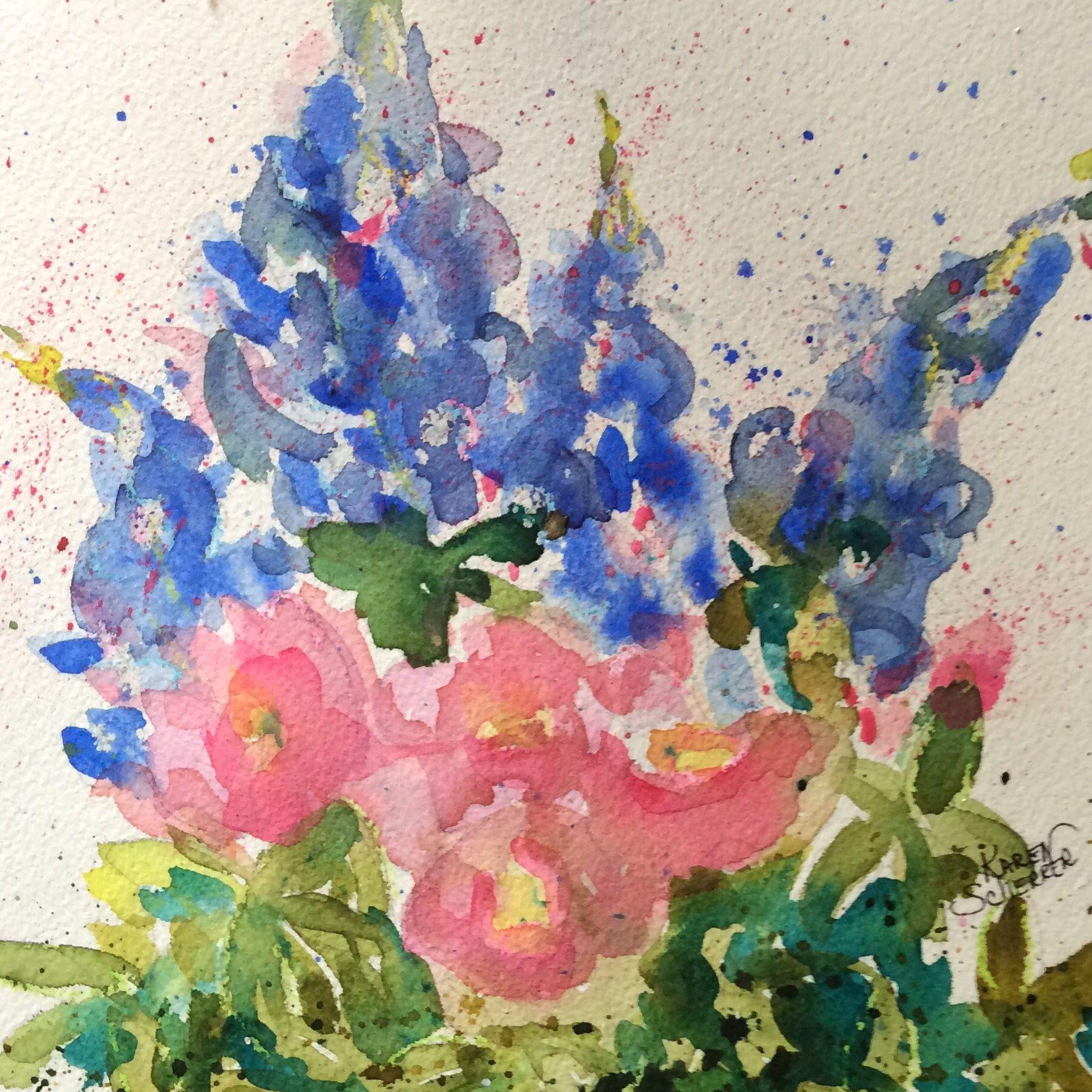 """""""Petite Wild Thangs"""" by Texas Watercolor Artist, Karen Scherrer"""