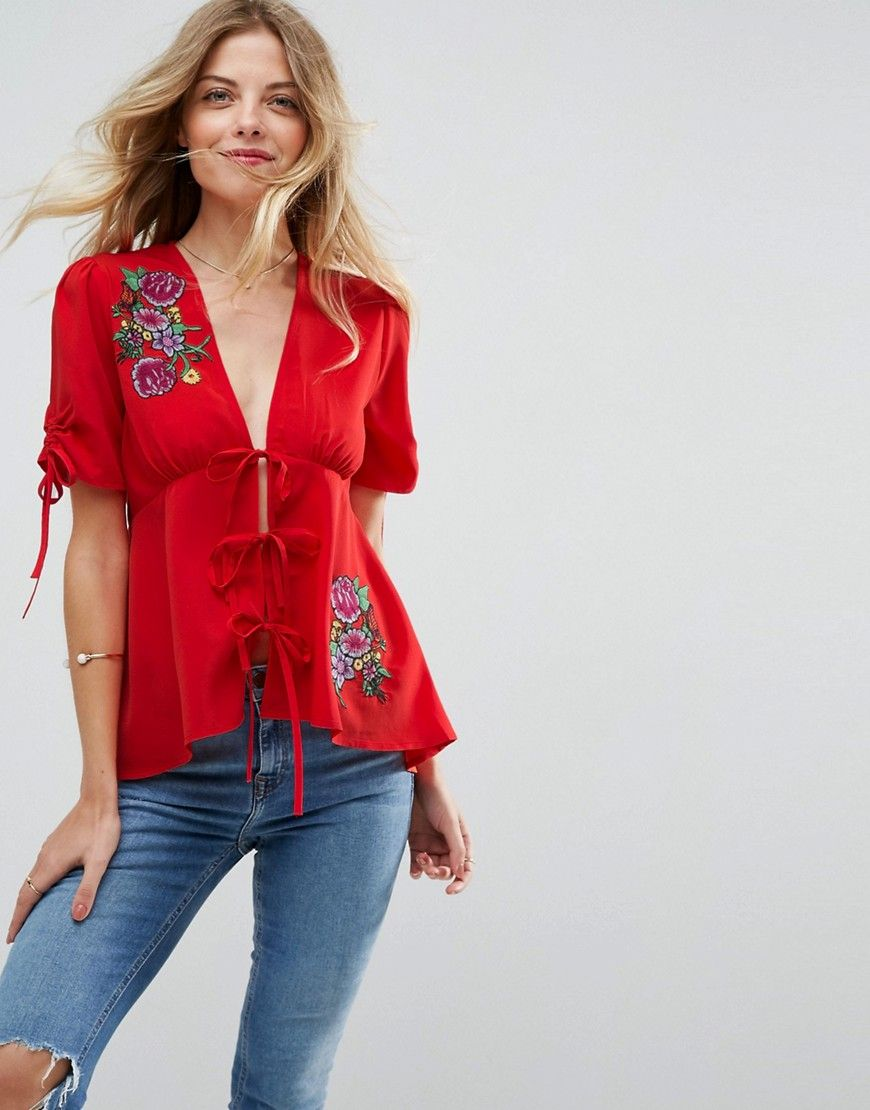 Tie Detail Blouse - Red Asos Latest Cheap Online Buy Cheap The Cheapest Outlet Ebay Outlet Low Shipping QPJexq