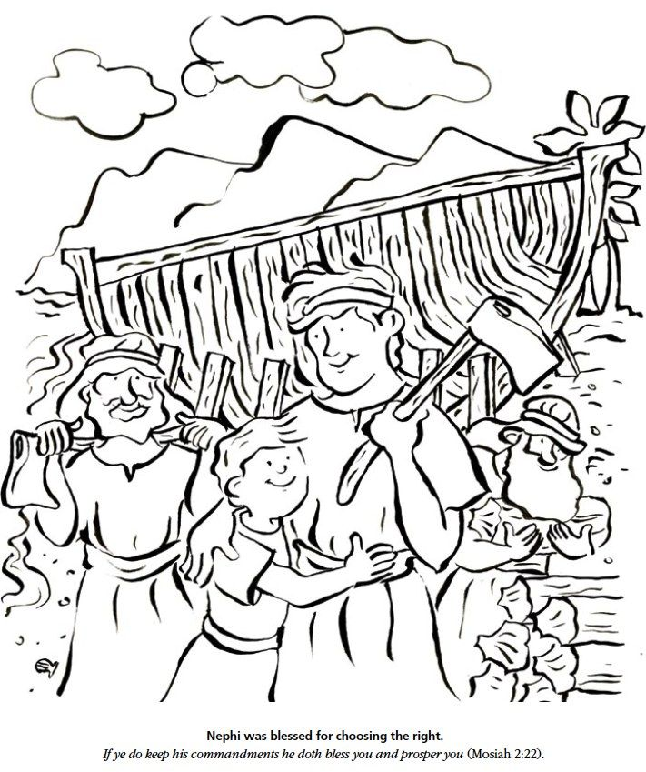 Lds Games Color Time Nephi Was Blessed For Choosing The Right Lds Coloring Pages Coloring Pages Scripture Coloring