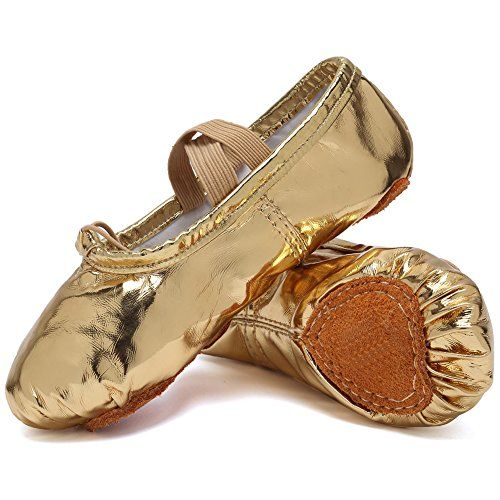 429a50efb930 FANTINY PU Ballet Slippers for Girls Classic Split-Sole Dance Gymnastics  Yoga Shoes (Toddler/Little Kid/Big Kid) - 12.5 M US Little Kid, Gold