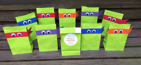 Personalized Tmnt Birthday Party Treat Bags By Littlemichaels