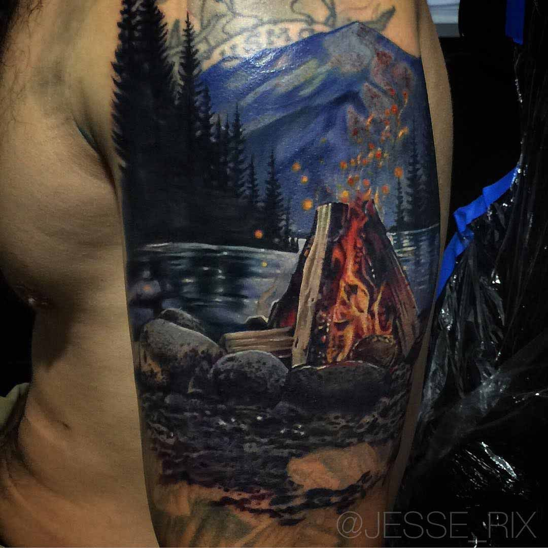 Campfire Tattoo Cover Up Cover Up Tattoos Shoulder