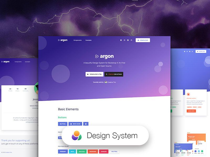 Argon Free Open Source Design System For Bootstrap 4 Design System Free Design Free Design Resources