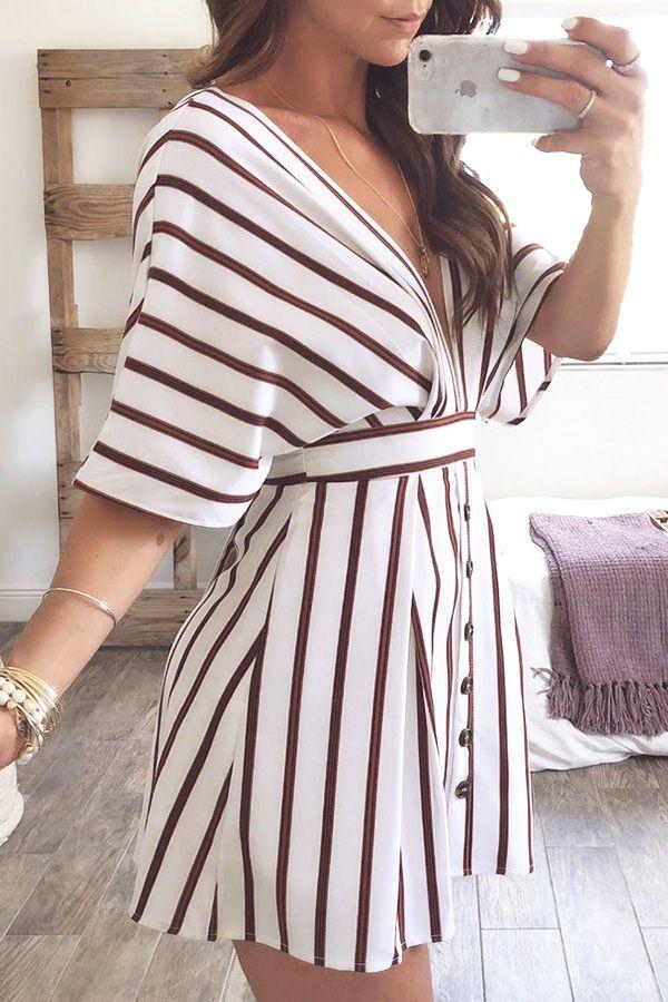 Vestido casual de una línea de manga corta con escote en forma de raya blanca para mujer – L  – Moda