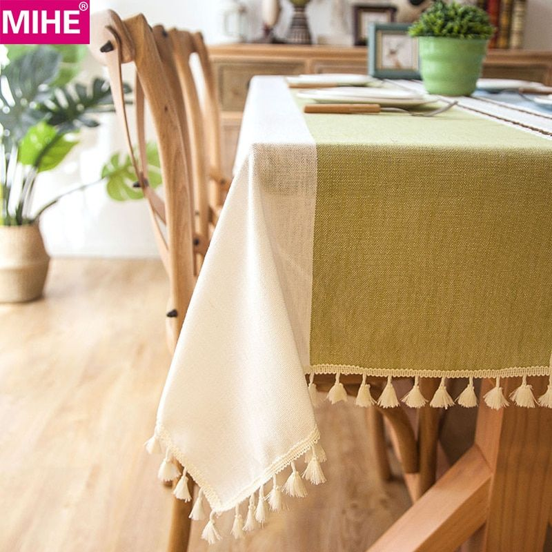 Modern Decorative Table Cloth Tassel Iace Rectangle Tablecloth
