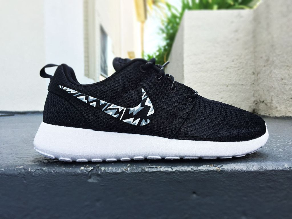 sale retailer 21424 f0ba8 Custom Nike Roshe Run sneakers, Black and white with grey, Trendy design,  black and white tribal, triangles, for Men and Women, unisex sizes