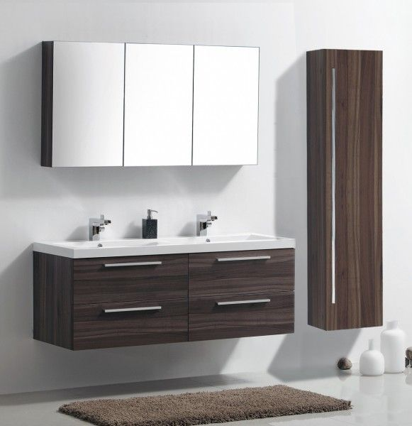 meuble de salle de bain r1442r armoire de toilette meuble mural double vasque noyer fonc. Black Bedroom Furniture Sets. Home Design Ideas