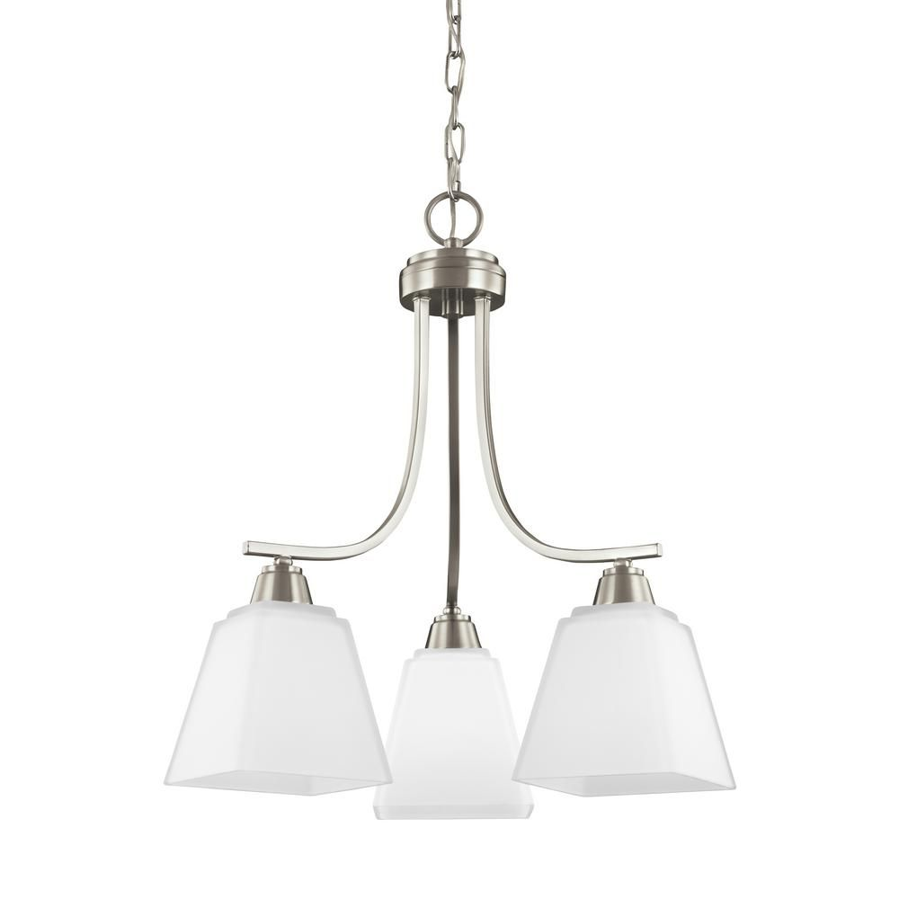 Sea gull lighting parkfield light brushed nickel chandelier with