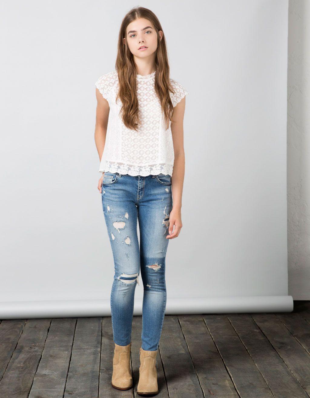 Jeans Bsk Rotos Con Parche Contraste New Bershka Mexico Ropa De Moda Moda Para Ninas Ropa