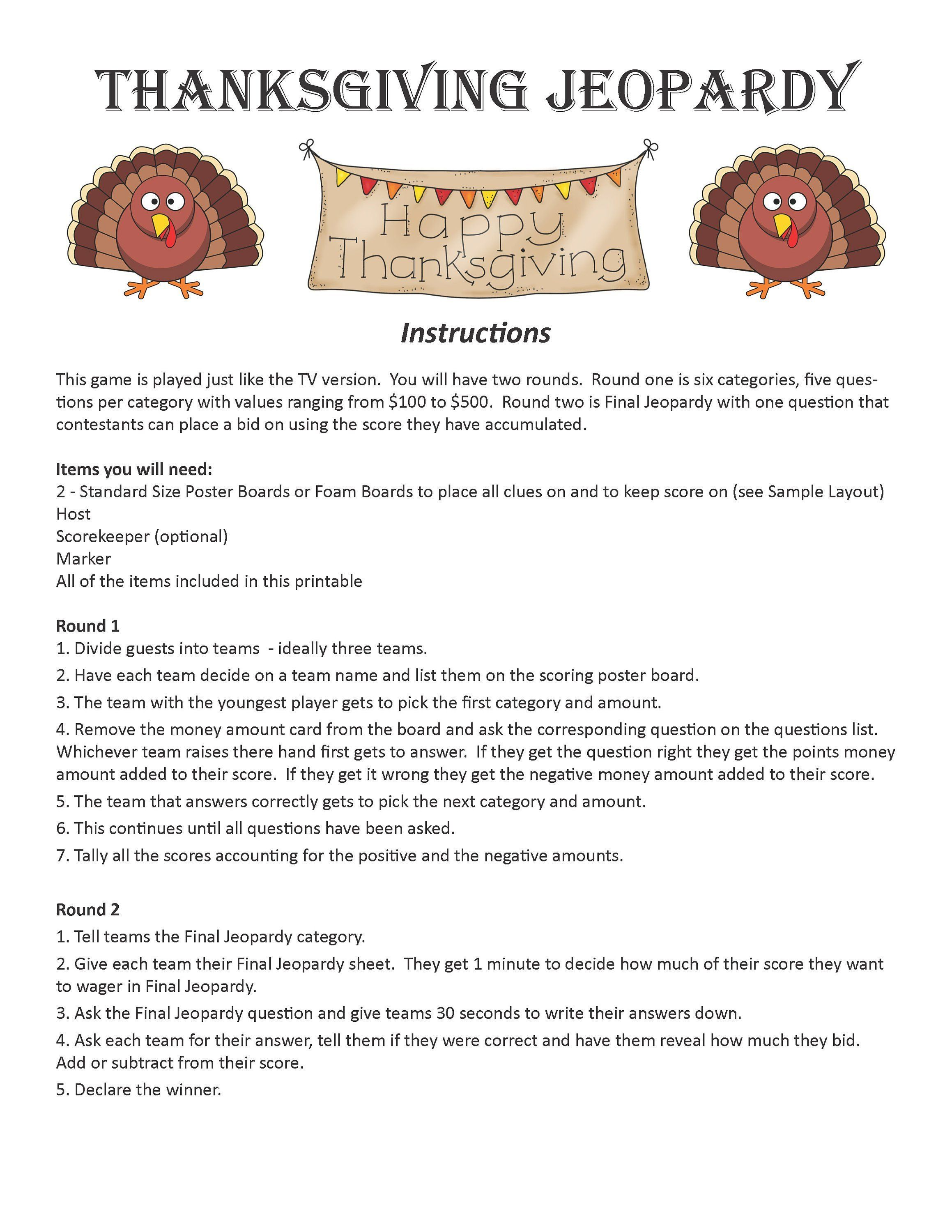 Thanksgiving Jeopardy DIGITAL DOWNLOAD, Trivia Game