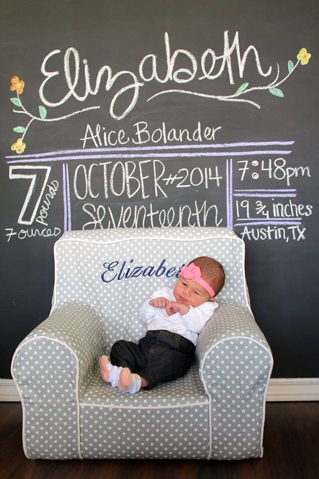Chalkboard Birth Announcement. Pottery Barn Kids Anywhere Chair.   Monthly  Baby Chalkboard